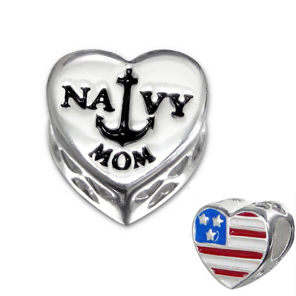 Sterling Silver Navy Mom Bead Charm, USA Flag Heart Bead for Charm Bracelet (E10311)