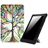 (US) Fintie Origami Case for Amazon Fire (Previous 5th Generation, 2015 7 inch) - Ultra Slim Lightweight Multi-angle Standing Cover, Love Tree