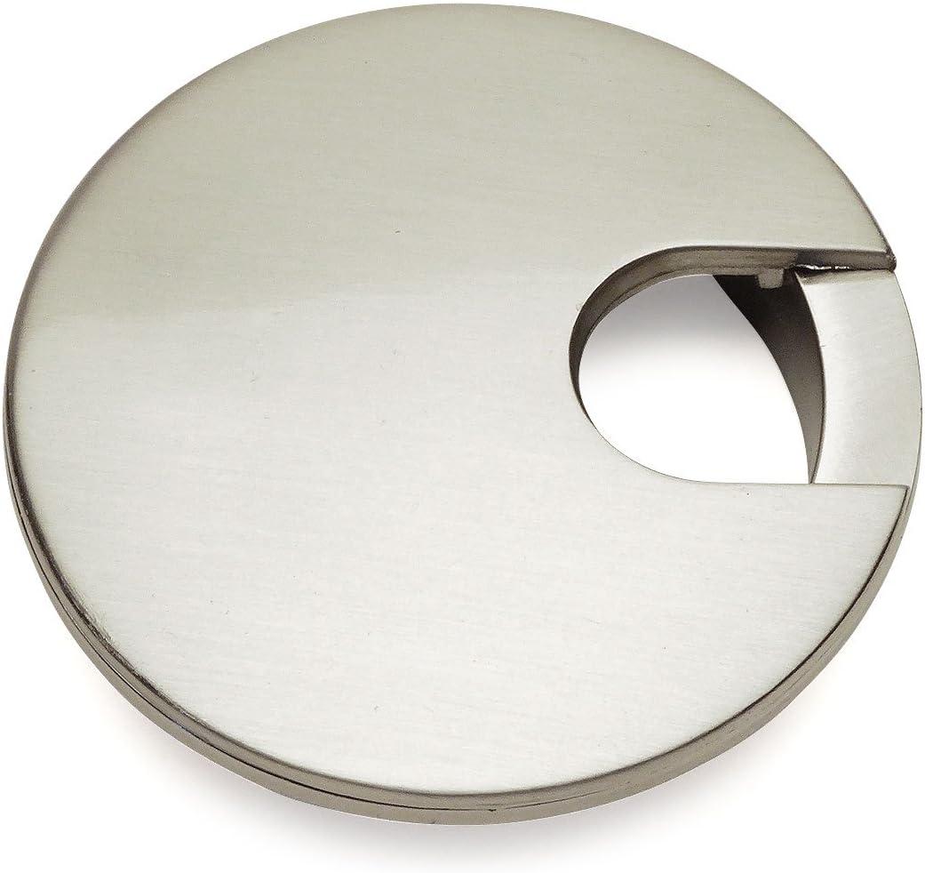 """Cosmas 50203SN Satin Nickel 2-1/2"""" Two Piece Zinc (Metal) Desk Grommet - 3"""" Overall Diameter"""