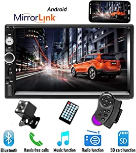 """CAMECHO 7"""" Double Din Car Stereo Audio Bluetooth MP5 Player USB FM Multimedia Radio+ 4 LED Mini Backup Camera with Steering Wheel Remote Support Mobile Phone Synchronization (Only Used in Android)"""