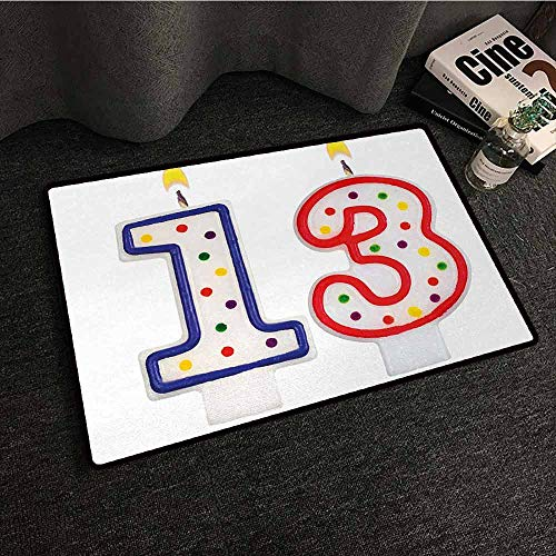 DILITECK Outdoor Doormat 13th Birthday Cute and Sweet Colorful Burning Candles Number Thirteen Party Objects Print Antifouling W20 xL31 Multicolor