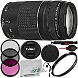Canon EF 75-300mm f/4-5.6 III Lens 9PC Accessory Kit - Includes 3PC Filter Kit (UV + CPL + FLD) + 4PC Macro Filter Set (+1,+2,+4,+10) + More - International Version (No Warranty)