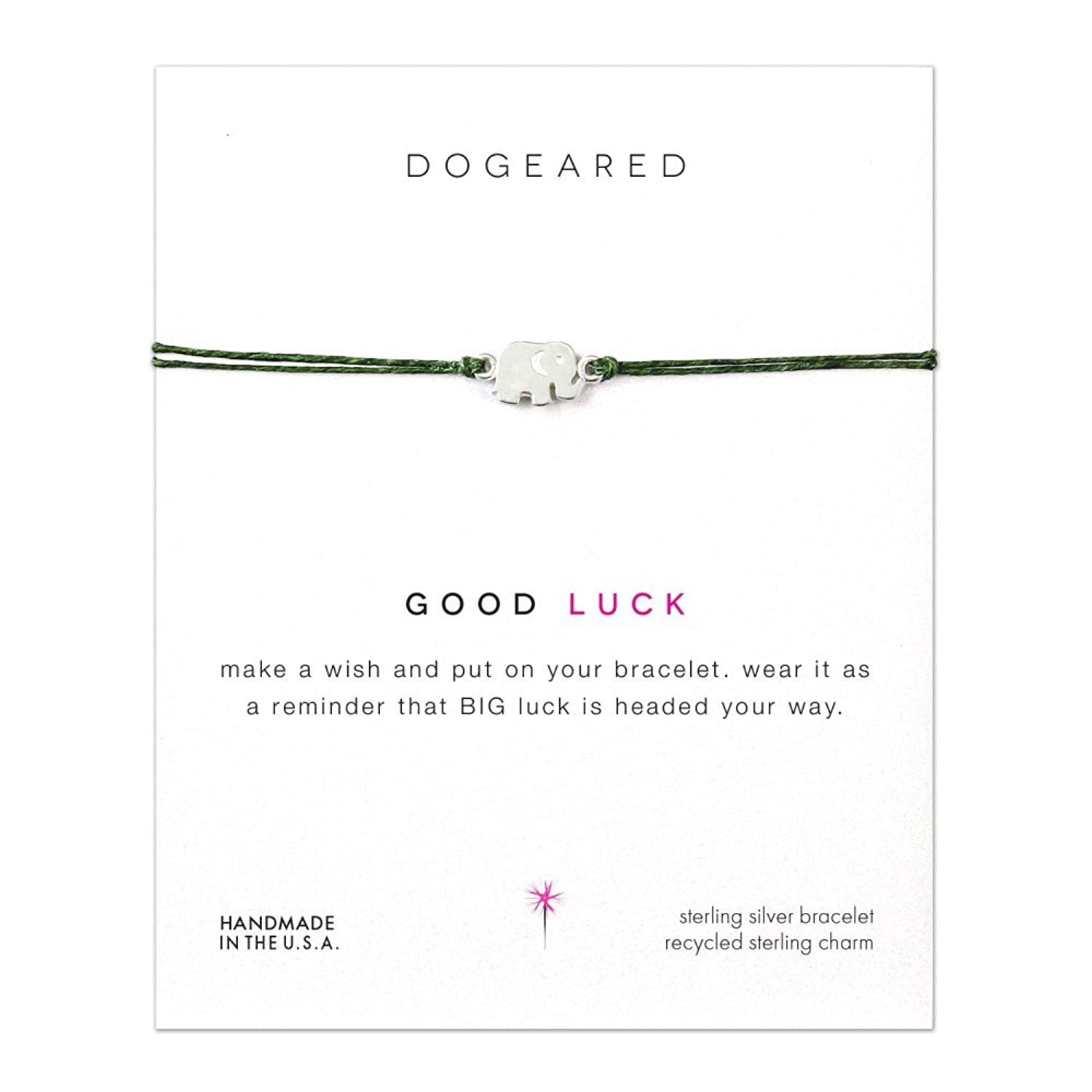 Dogeared Good Luck Elephant Green Linen Make A Wish Bracelet