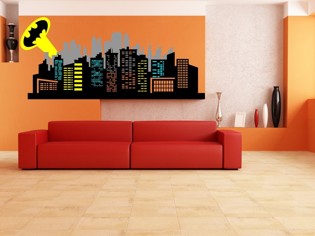 Amazon chic walls removable gotham city skyline buildings ray amazon chic walls removable gotham city skyline buildings ray light batman logo wall art decor decal vinyl sticker mural nursery kids room superhero amipublicfo Gallery