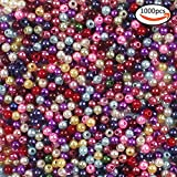 plastic beads for jewelry making - SHAN RUI 1000pcs 4mm Assorted Color Small Imitation Glass Pearl Beads for Jewelry Making Crafts for kids DIY Necklace, Bracelet