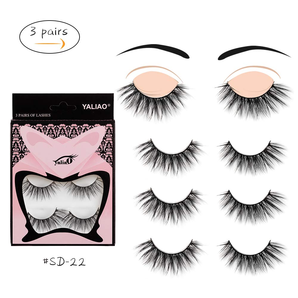 Amazon Yaliao Fake Lashes 3 Pairs Mink Fluffy False Eyelashes