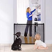 AUTOWT Puerta mágica para perros, valla de puerta de gato de escalera plegable para mascotas de 110x72 cm con ganchos adhesivos fuertes de 3 m, regalo de idea para gatitos pequeños, cachorros o bebés