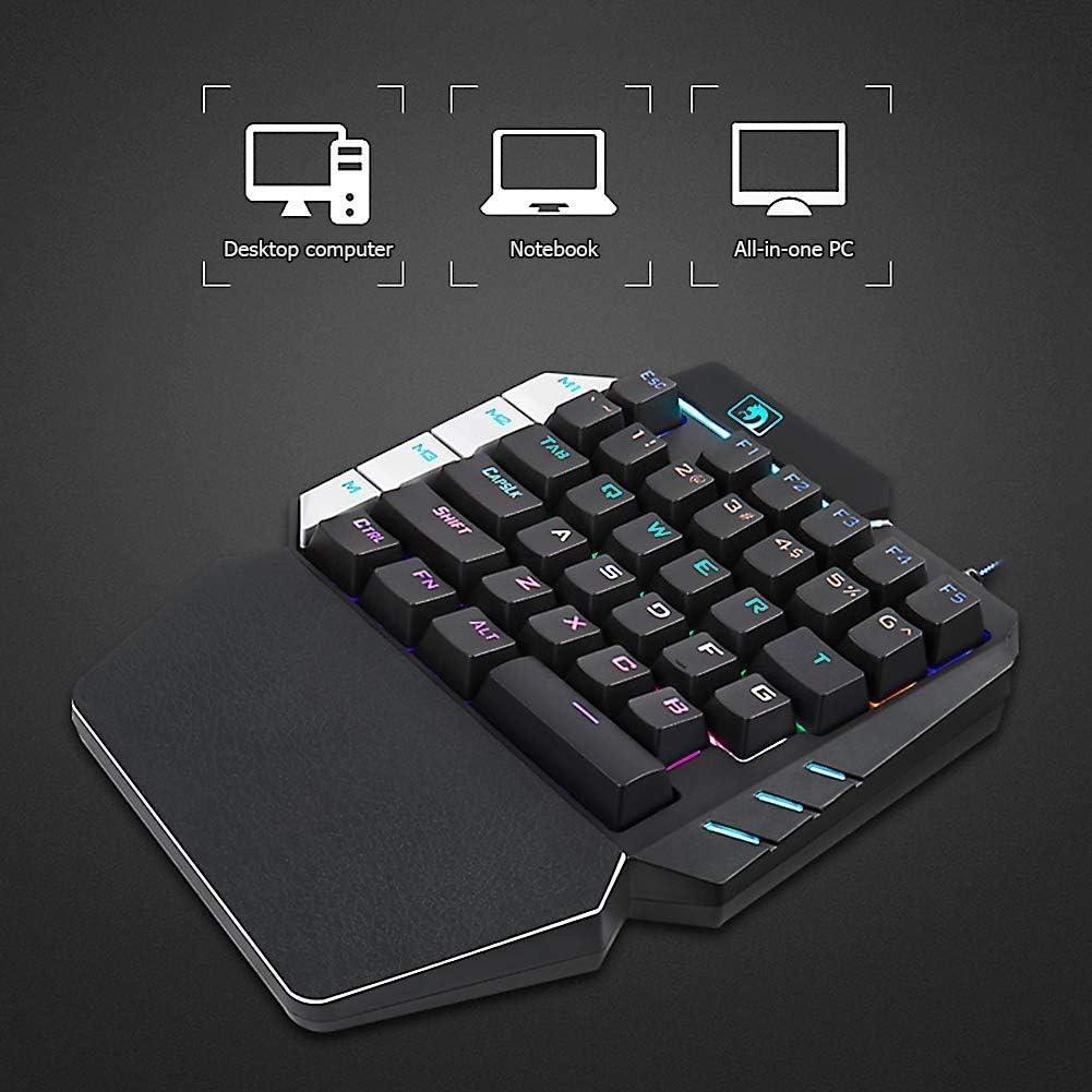Mechanical One-Handed Keyboard 38-Key Mechanical Keyboard Backlit Ergonomic Professional Gaming Keyboard Wired USB for pubg LOL Gamer Game Button