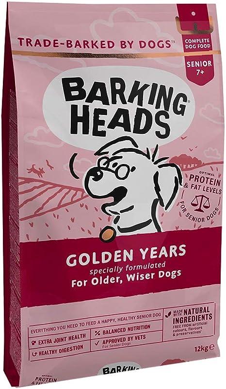 Barking Heads Comida Seca para Perros mayores - Golden Years - Pollo de corral y pescado 100% natural sin aromas artificiales, Niveles de grasas y ...