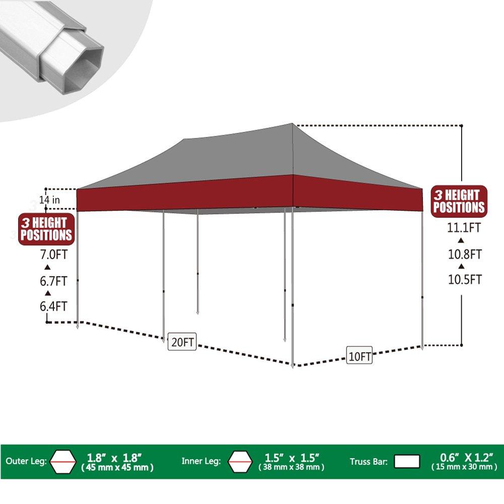 amazoncom eurmax 10x20 ez pop up canopy wedding party tent instant outdoor gazebo aluminum frame commercial grade bonus roller bag black