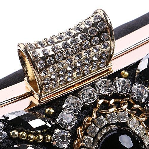 métal Perle de Sac Main à élégant Femmes Sac Main Sacs en Sac PLYY d'embrayage bandoulière Noir Petite Sacs de pour à d'embrayage soirée fête à Sacs 78qBI