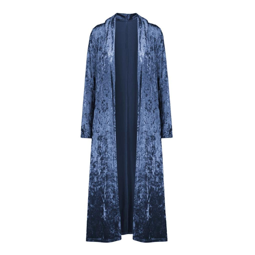 d433991263 Kolylong® Strickjacke Damen Frauen Elegant SAMT Lang Strickjacke Mode  Frühling Cardigan Langarmshirt Vintage Oversize Mantel Kimono Jacke Outwear  Bluse: ...
