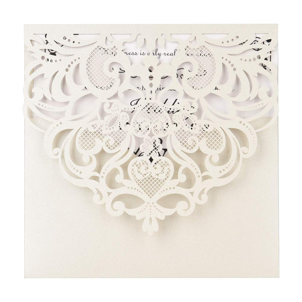 Laser Cut Invitations 50 Pack FOMTOR Laser Cut Wedding Invitations Card Kit with Blank Printable Paper and Envelopes for Wedding,Birthday Parties,Baby Shower Silver