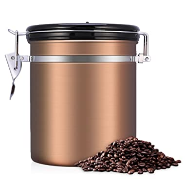 Airtight Coffee Container Storage Canister,Stainless Steel Coffee Beans Ground for Fresher Container Built-in One Way Valve(16oz, Brown)
