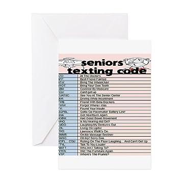 CafePress – Senior SMS Code Grußkarten – Grußkarte, Note Karte