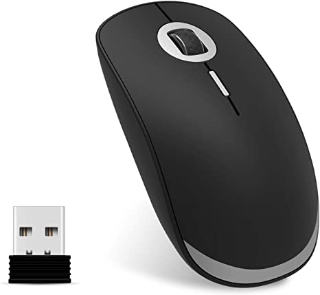 inphic Mouse Wireless Ricaricabile Spazio Argento Mouse Senza Fili Silenzioso 2,4G 1600DPI Mouse USB Portatile da Viaggio Ottico con Ricevitore USB per PC Computer Mac MacBook