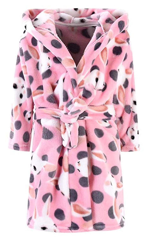 Boys & Girls Bathrobes, Toddler Kids Hooded Robe, Plush Soft Coral Fleece Bathrobe Robes Pajamas Sleepwear for Girls Boys