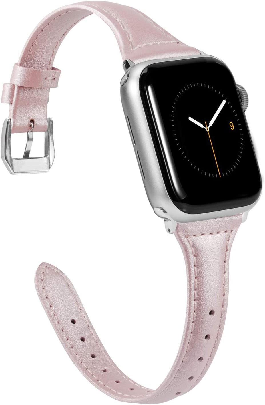 Wearlizer Thin Leather Compatible with Apple Watch Slim Leopard Bands 42mm 44mm for iWatch SE Womens Mens Strap Classic Wristband Slim Replacement (Metal Silver Clasp) Series 6 5 4 3 2 1 Sport-Pink