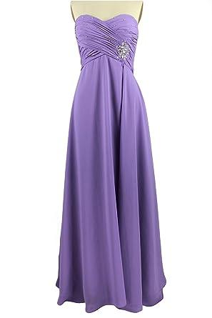 CharmingBridal Sweetheart Sheath Pleat Chiffon Bridesmaid Long Evening Prom Dress