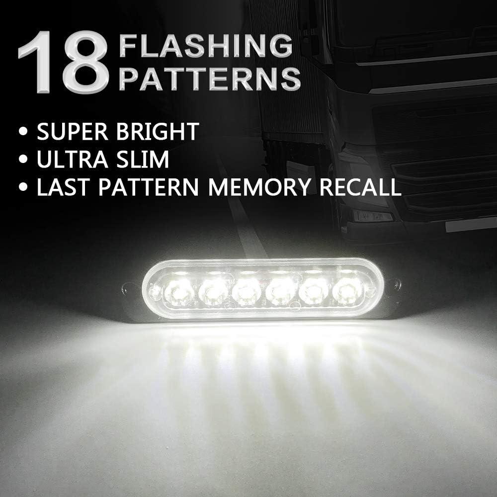 KaiDengZhe 4Pcs 6LED Red Ultra Slim Sync Feature Warning Emergency Beacon Hazard Flash Caution Strobe Light Bar Surface Mount for Car Truck 12-24V