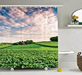 Farmhouse Decor Collection Sunset Clouds over a Farm in Southern York County Pennsylvania Nature Scenery Polyester Fabric Bathroom Shower Curtain Set with Hooks Green Red offers
