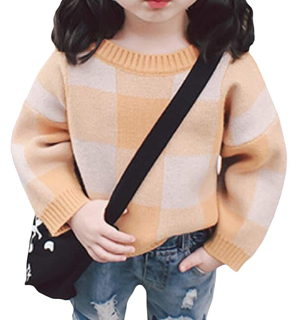 XiaoTianXinChildrenscostumes XTX Toddler Girls Knitwear Dolman Sleeve Crew Neck Pullover Checkered Sweaters