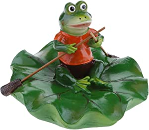 Joysiya Water Floating Lotus Leaf with Frog Ornament Figurine Statue Craft for Home Garden Pond Decoration Photo Prop Gift - Rowing