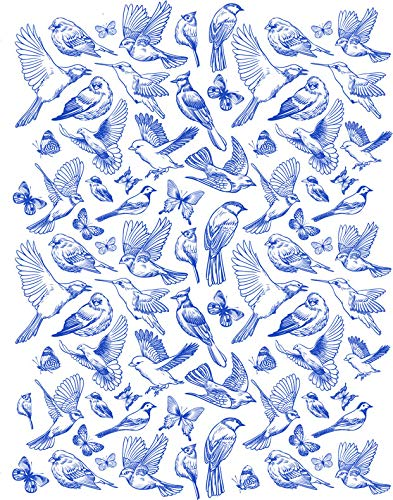 Sanbao Studio Ceramic Decals, Birds and Butterfly (Blue)