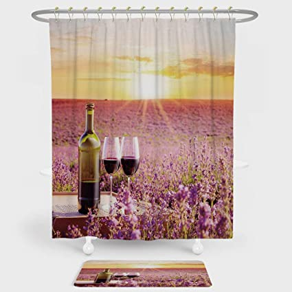 IPrint Wine Shower Curtain And Floor Mat Combination Set Bottle Of Against Blossoming Lavender Landscape