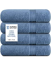 """Zuperia Bath Towels 27"""" x 54"""" Set of 4 Ultra Soft 100% Combed Cotton Large Bath Towel Slate Blue, Highly Absorbent Daily Usage Bath Towel Ideal for Pool, Home, Gym, Spa, Hotel"""