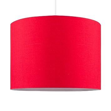 MiniSun – Pantalla moderna de tamaño grande, color rojo y forma cilíndrica – para lámpara de techo o lámpara de mesa