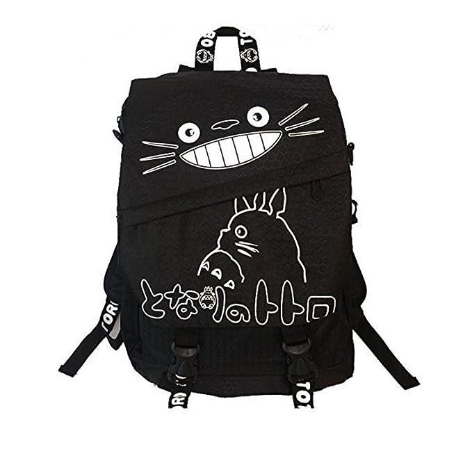 Amazon.com: Totoro sonriendo mochila negra con letras ...