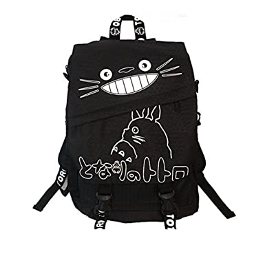 Totoro Smiling Black Backpack with White Lettering 16 quot  School Backpack b097140de3