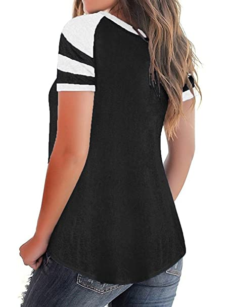 5ac31c985a2988 JOYCHEER Womens Criss Cross Tops Summer V Neck Cute Sexy Flowy Casual Loose Tee  T-Shirts at Amazon Women's Clothing store: