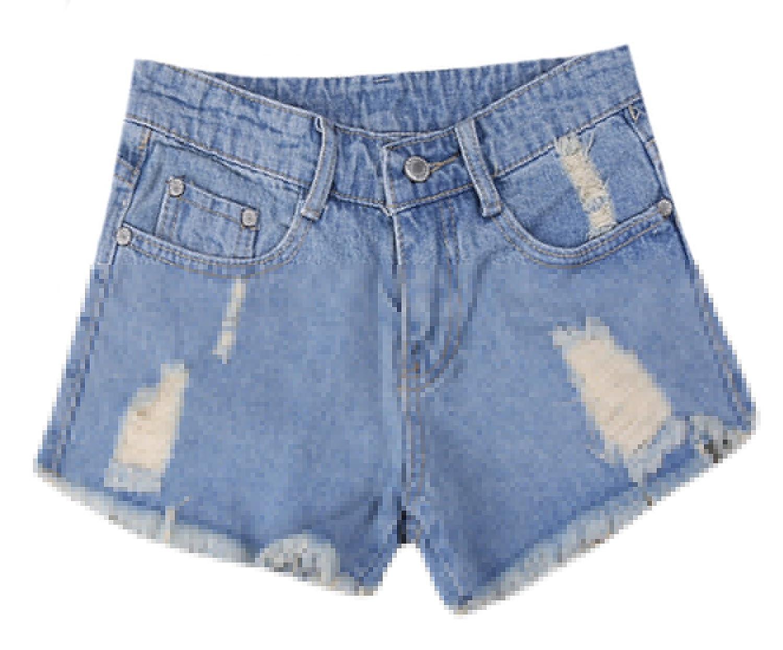 YUNY Womens Ripped Pockets Tassel Trim Casual Denim Shorts