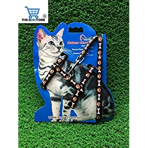 The DDS Store Cat Harness, Adjustable Harness Nylon Strap Collar with Leash, Cat Leash and Harness Set, for Cat and Small Pet Walking Small Cat and Pet Nylon Fancy Pattern Harness Leash (Black Print)