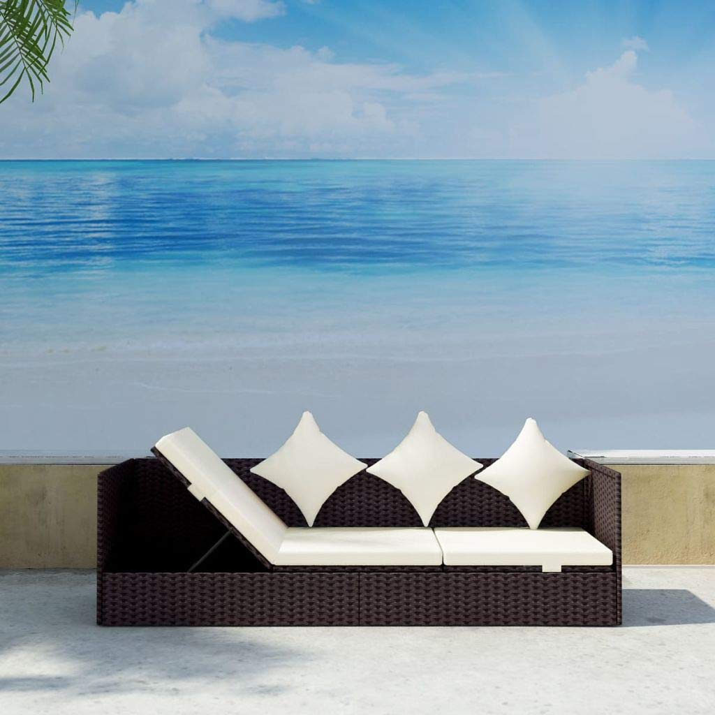 Outdoor Sofa Rattan 3 Seats, Chaise Lounge Adjustable with Cushions Pillow, Daybed for Poolside, Patio, Garden (Brown) by Canditree
