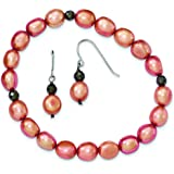 Sterling Silver 7-8mm Freshwater Cultured Pearls Orange With Hemitate Stretch Bracelet and E