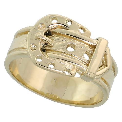 """14k Gold Belt Buckle Ring, 3/8"""" (10mm) wide"""