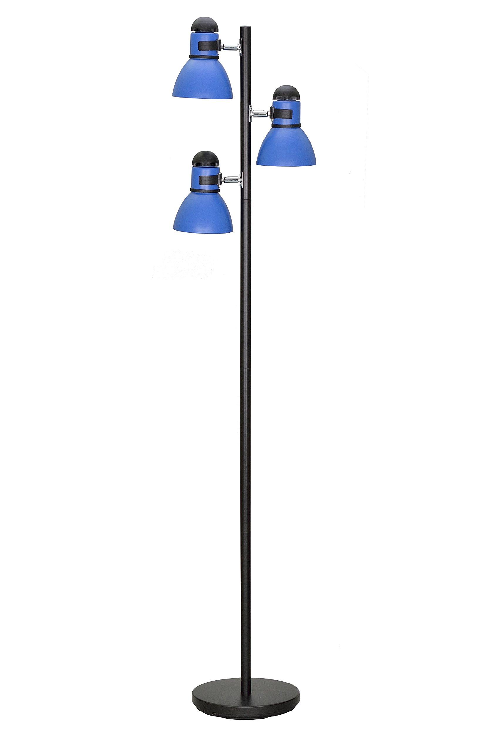 Aspen Creative 45002-3, 3-Light Adjustable Tree Floor Lamp, Modern Design in Black & Blue, 64'' High
