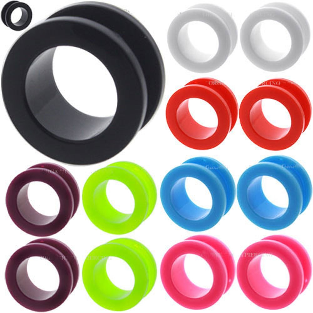 2 Pieces 0g 0 Gauges 8mm plugs tunnels acrylic double flare gauges for ears Plugs Stretcher fit Taper Expander Colored Body Piercing Jewelry Wholesale lot set Ear Plug Earlets Shipping PURPLE (0g = 8mm)