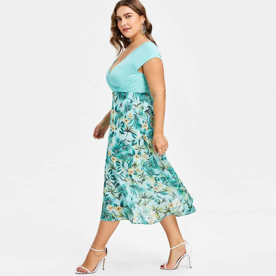 Dresses Women Casual Cold Shoulder Short Sleeve Boho Floral Printed Split Long Maxi Dress