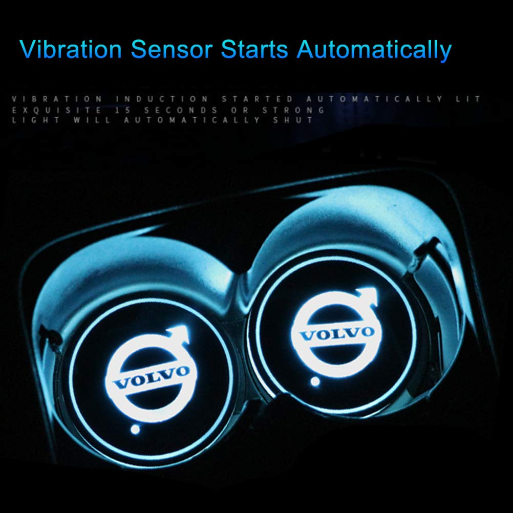 Ysoom 2Pcs LED Car Logo Cup Holder Pads 7 Color Changing USB Charging Mats Bottle Coasters Car Atmosphere Lamps IP67 Waterproof 17