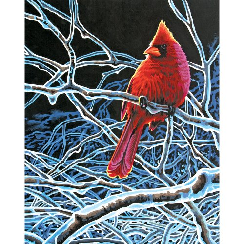 Dimensions 11 14-Inch Paint by Number Kit, Ice Cardinal