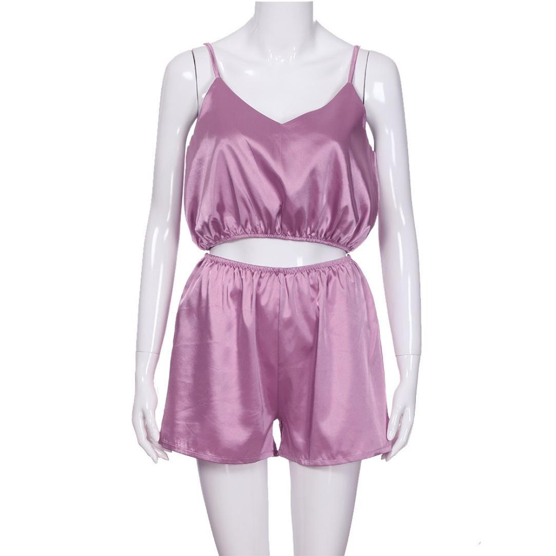Longra❤2018 Señoras de las mujeres atractivas correas espaguetis pijamas satén color sólido ropa de dormir 2 piezas tangas sexys mujer: Amazon.es: ...