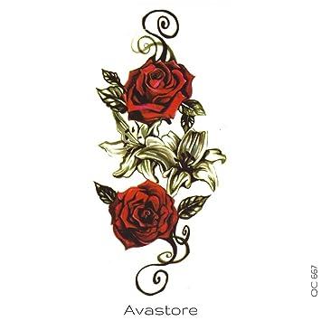 Tatouage Temporaire Femme Rose Rouge Amour Tatouage éphémère