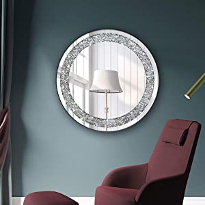 Round Wall Mirror for Home Decoration in Crystal Crush Diamond Silver 23.6x23.6x1 inch Wall Hang Frameless Mirror Glass Diamond Décor.