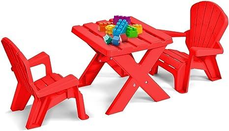 Juego de mesa y sillas para niños, muebles de jardín para niños, cubierta de jardín al aire libre, juego para niños y bebés, dibujar, comer en casa, Deor, plástico rojo: Amazon.es: Bebé