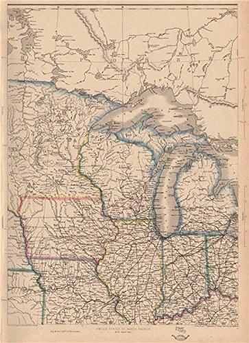 Amazon.com: USA NORTH CENTRAL. Midwest. w/ Minnesota Territory pre ...