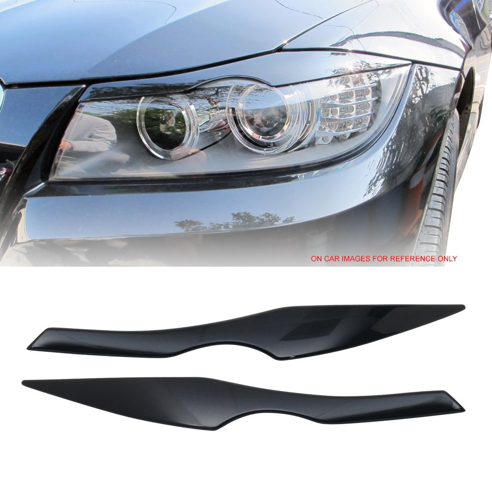 Pre-painted Eyelid Fits 2006-2011 BMW 3 Series E90 | ABS Painted #A35 Monaco Blue Metallic Headlight Eyelid Eyebrow Other Color Available By IKON MOTORSPORTS | 2007 2008 2009 2010